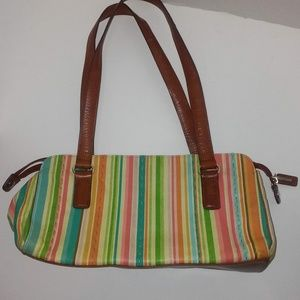 FOSSIL Multi Color Striped Medium Size Satchel
